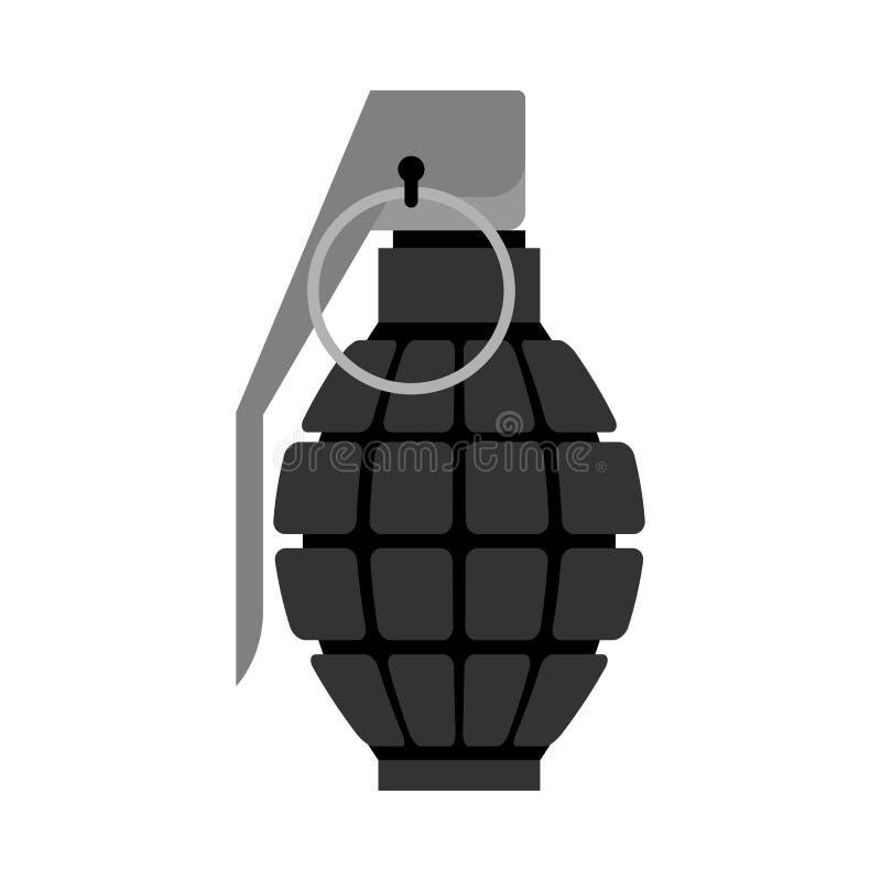 Negro militar de la granada Explosivos del ejército Munición de la tropa e stock de ilustración