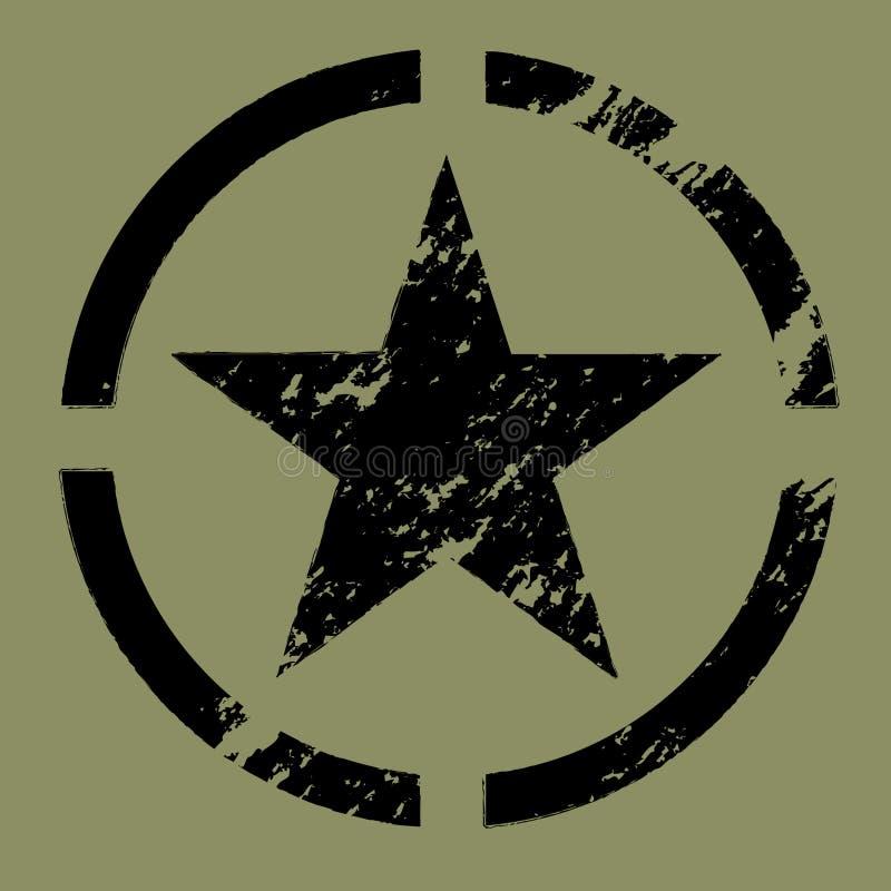 Negro militar del símbolo de la estrella stock de ilustración