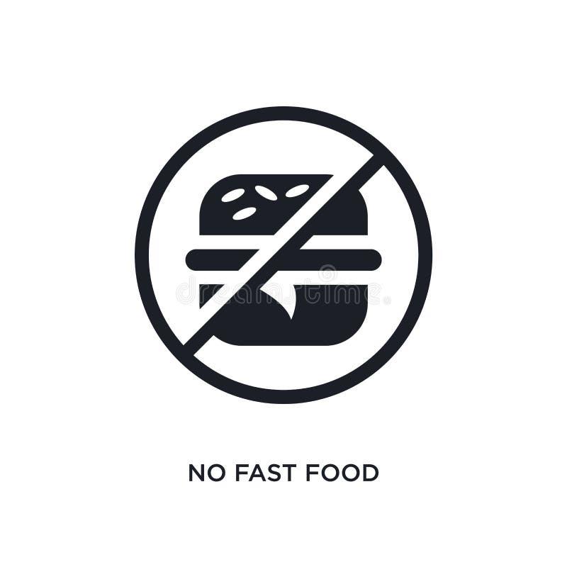 negro ningún icono aislado del vector de los alimentos de preparación rápida el ejemplo simple del elemento del tráfico señal ico stock de ilustración