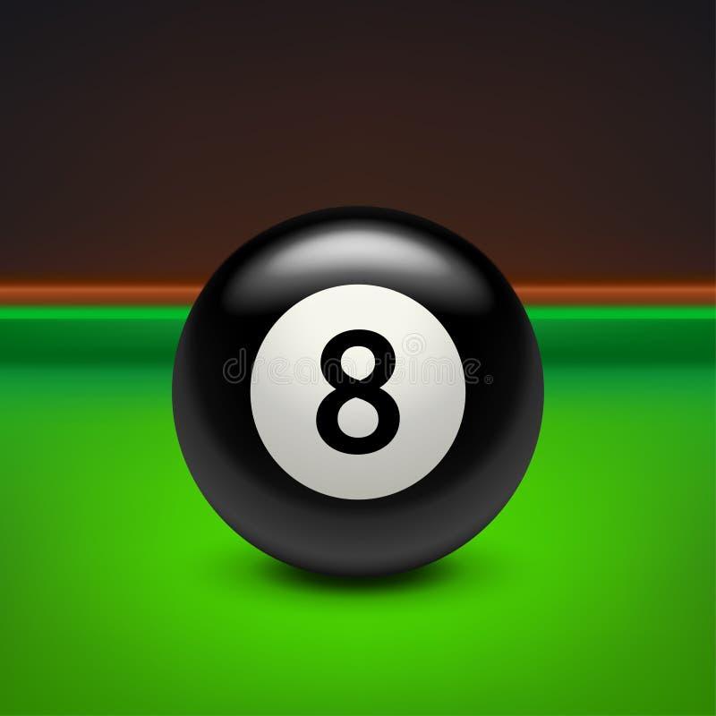 Negro ocho de la piscina en la tabla ilustración del vector