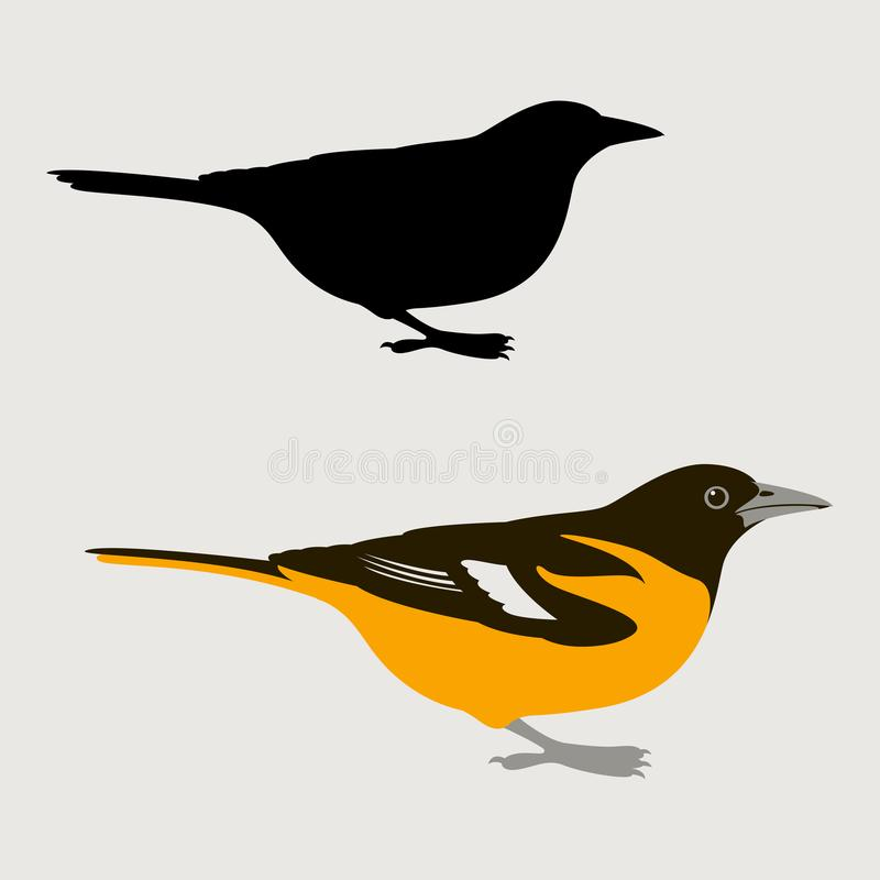 Negro plano del estilo del ejemplo del vector del oriole del pájaro ilustración del vector