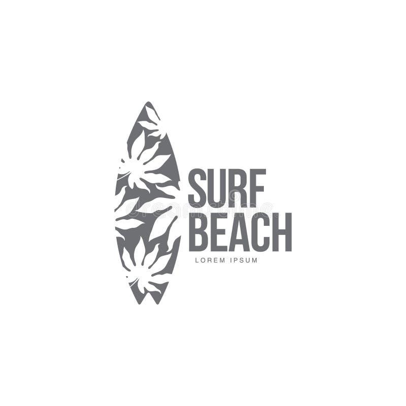Negro, plantilla blanca del logotipo que practica surf con la tabla hawaiana del modelo de la palmera ilustración del vector