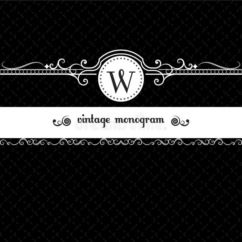 Negro retro del diseño del marco del fondo del vintage del monograma ilustración del vector