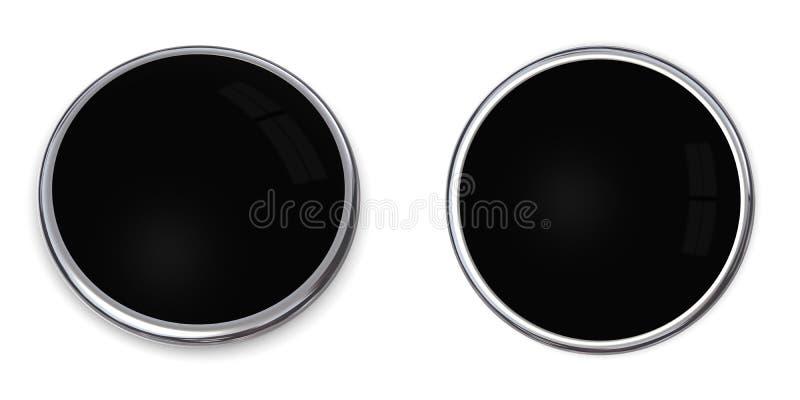 negro sólido del botón 3D stock de ilustración