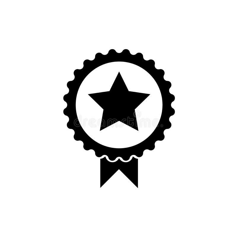 Negro sólido del icono de la medalla de la estrella stock de ilustración