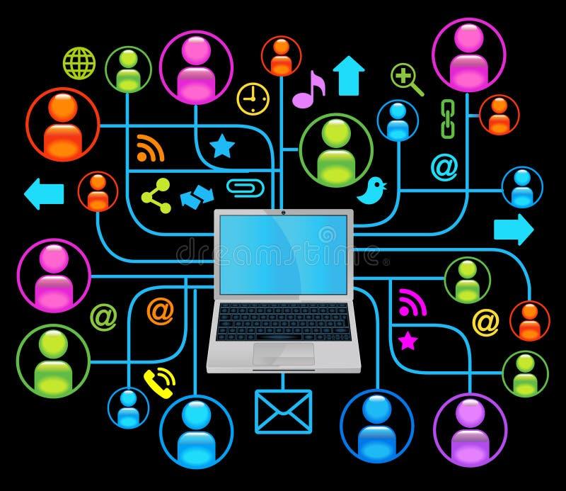Negro social de la computadora portátil de la red ilustración del vector
