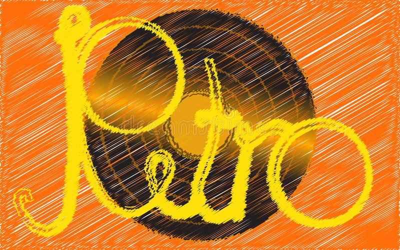 Negro vinilo, retro, inconformista, antigüedad, placa vieja, antigua, análoga, musical pintada en un estilo frotado ligeramente e libre illustration
