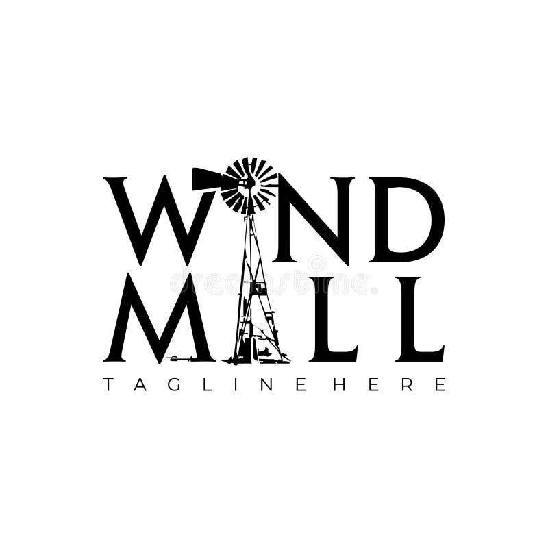 Negro Wordmark blanco del molino de viento stock de ilustración