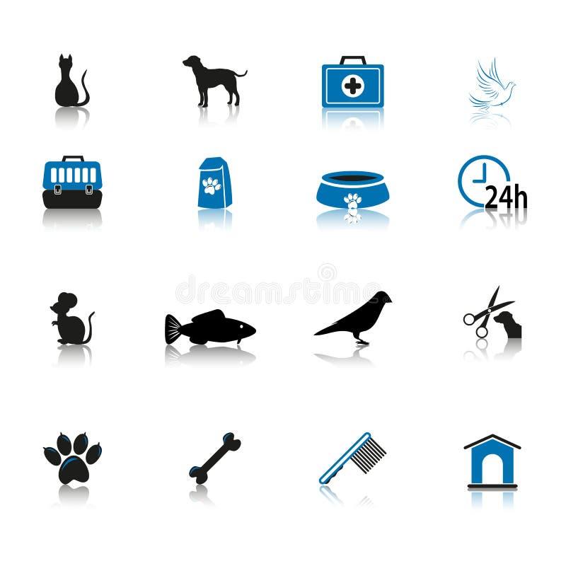 Negro y azul del sistema del icono del cuidado de animales de compañía aislados en el fondo blanco ilustración del vector
