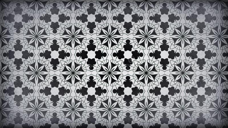 Negro y diseño del papel pintado de Gray Vintage Decorative Floral Pattern stock de ilustración