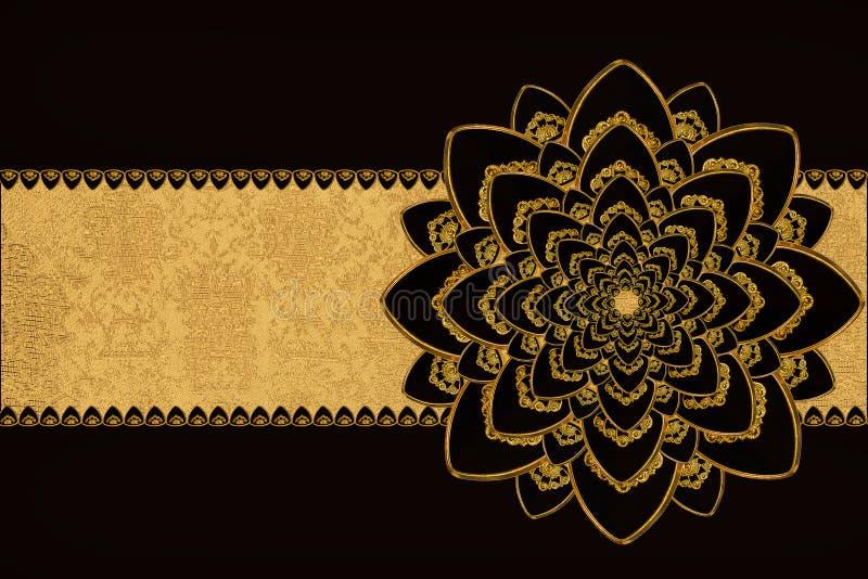 Negro y flor del oro imágenes de archivo libres de regalías
