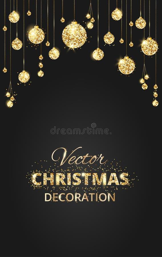 Negro y fondo de la Navidad del oro con la decoración del brillo stock de ilustración