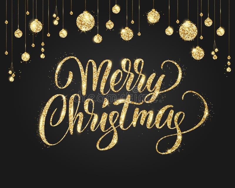 Negro y fondo de la Navidad del oro con la decoración del brillo Letras dibujadas mano ilustración del vector