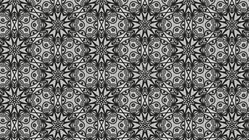 Negro y Grey Vintage Floral Wallpaper Pattern ilustración del vector