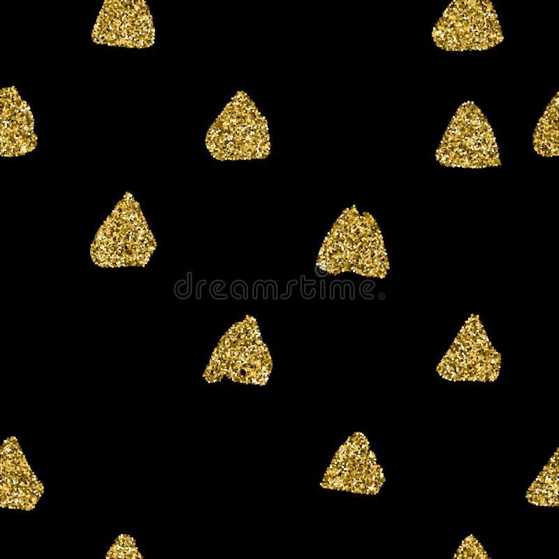 Negro y modelo inconsútil del drenaje de la mano del oro de triángulos Textura sin fin del vector y colores en colores pastel del stock de ilustración