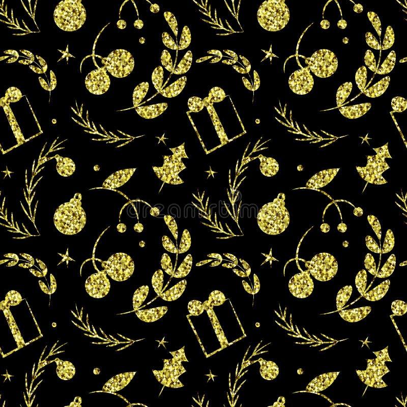 Negro y modelo simple inconsútil de oro brillante de los gráficos de vector ilustración del vector