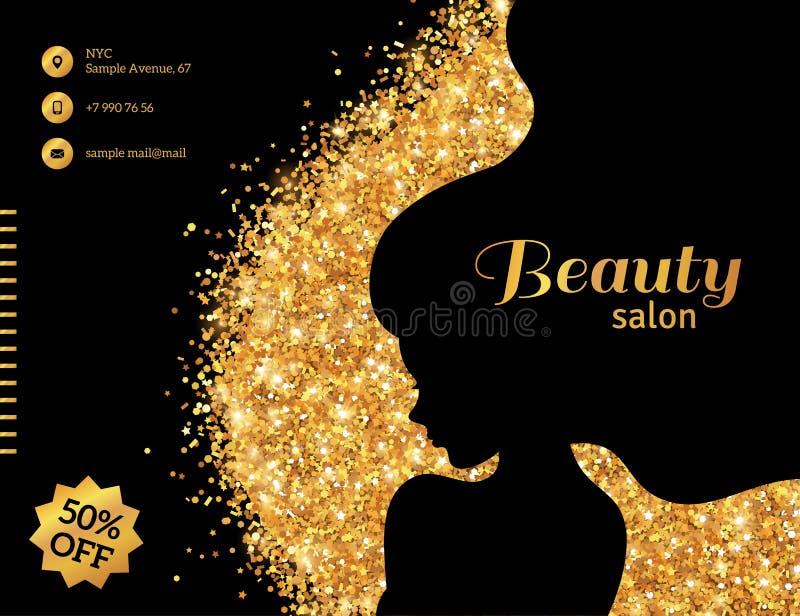Negro y mujer de la moda del oro que brilla intensamente libre illustration