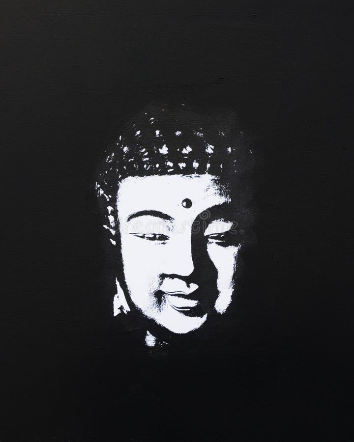 Negro y pizca de la pintura de Buddha ilustración del vector