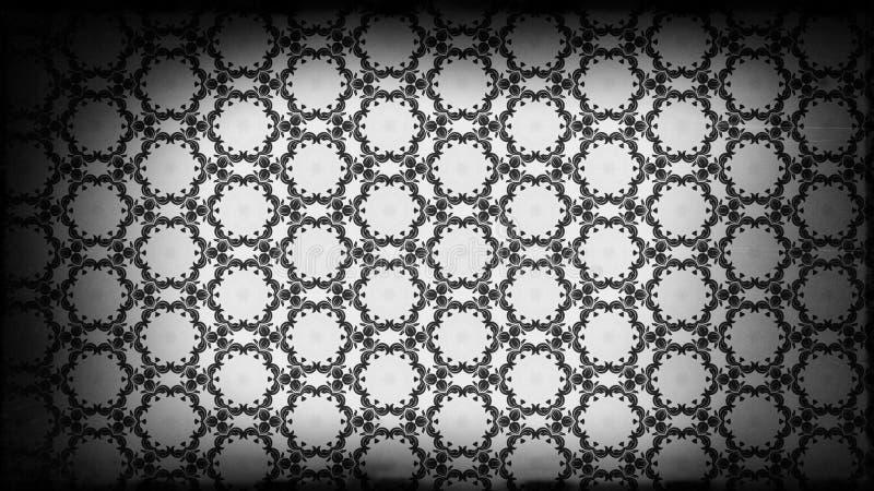 Negro y plantilla del diseño de Gray Vintage Floral Pattern Wallpaper ilustración del vector