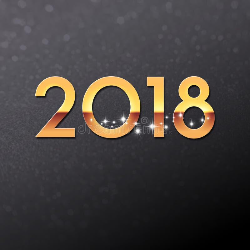 negro 2018 y tarjeta de felicitación del oro ilustración del vector