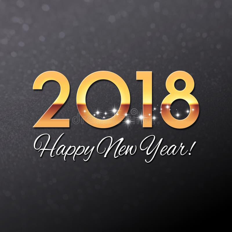 negro 2018 y tarjeta de felicitación del oro stock de ilustración