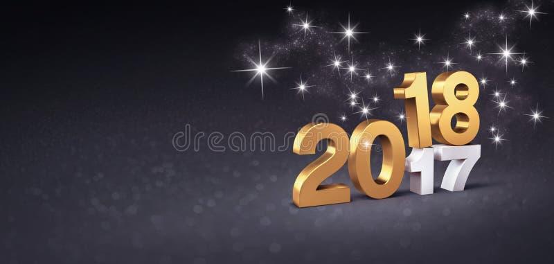 Negro y tarjeta 2018 de felicitación del oro stock de ilustración