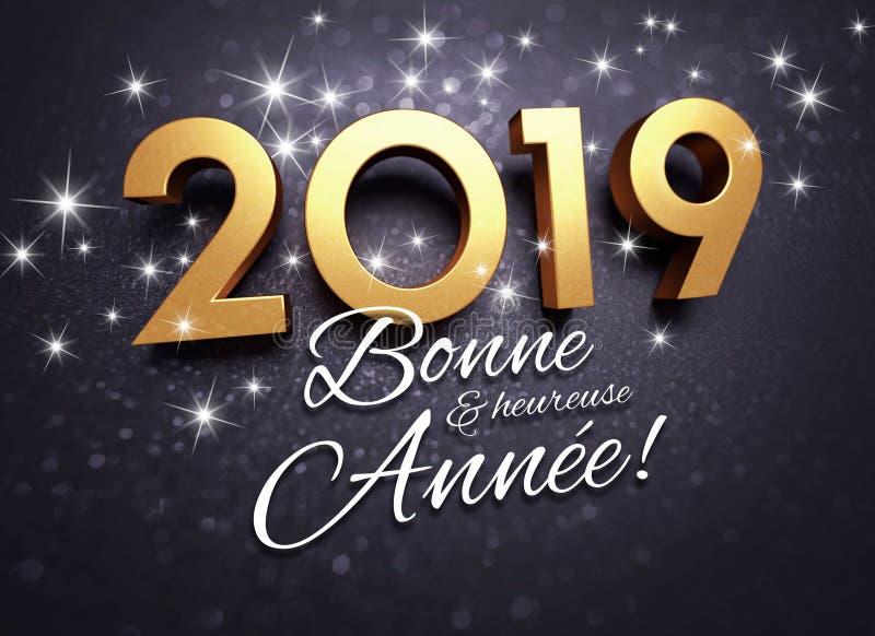 Negro y tarjeta de felicitación francesa del oro 2019 libre illustration
