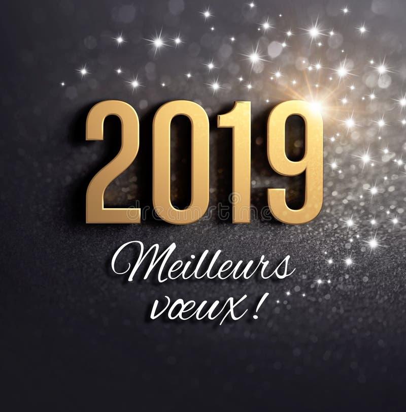 Negro y tarjeta de felicitación francesa del oro 2019 ilustración del vector