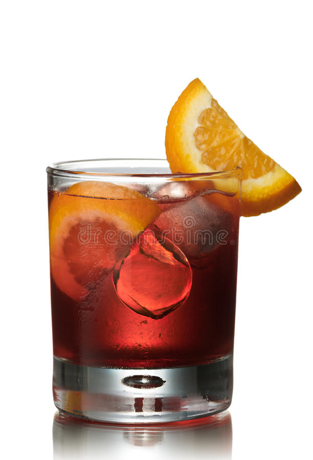 Negroni alcoholic cocktail. Before dinner official IBA cocktail royalty free stock photo