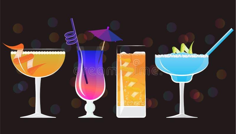 Negroni cocktail, Galaxy Magic Moscow Mule Vodka Cocktail, Sidecar cocktail ,Moonlight Margarita coctails. Negroni cocktail, Galaxy Magic Moscow Mule Vodka royalty free illustration