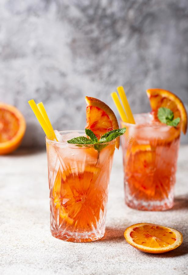 Negroni  cocktail with orange and ice stock photos