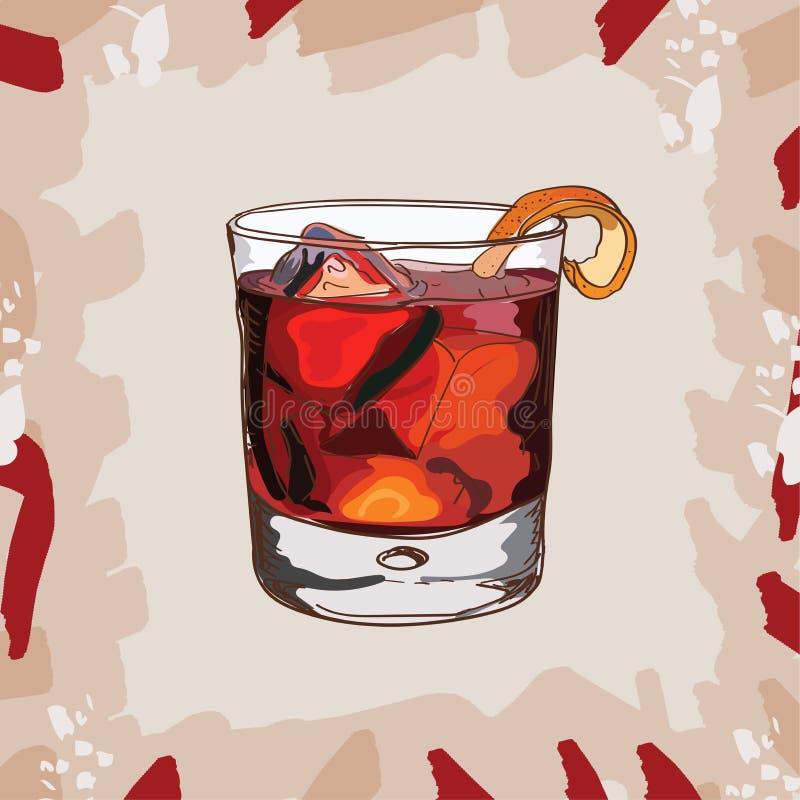 Negroni koktajlu Współczesna klasyczna ilustracja Alkoholiczka baru napoju ręka rysujący wektor Wystrzał sztuka royalty ilustracja
