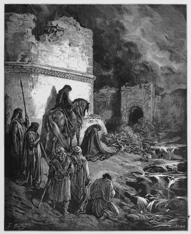 Nehemiah bekijkt de ruïnes van de muren van Jeruzalem
