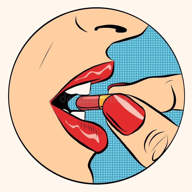Nehmen der Pillenmedizin vektor abbildung