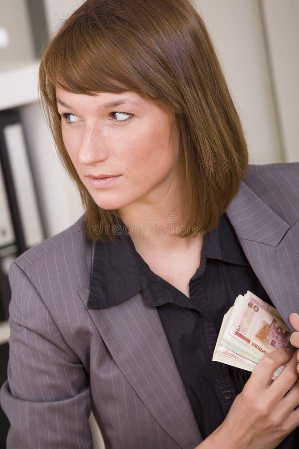 Nehmen des Bestechungsgeldes lizenzfreies stockbild