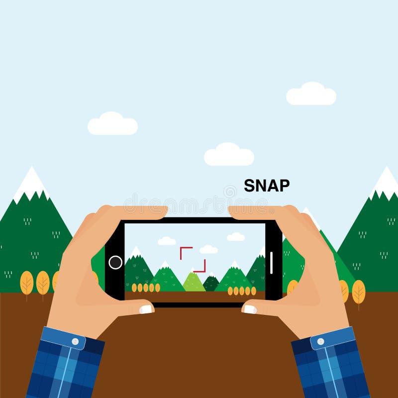 Nehmen Sie den Moment von der Zeit des Smartphone im Urlaub gefangen lizenzfreie abbildung