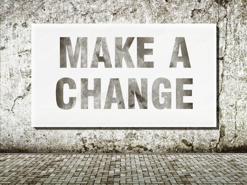 Nehmen Sie eine Änderung, Wörter auf Wand vor lizenzfreies stockbild