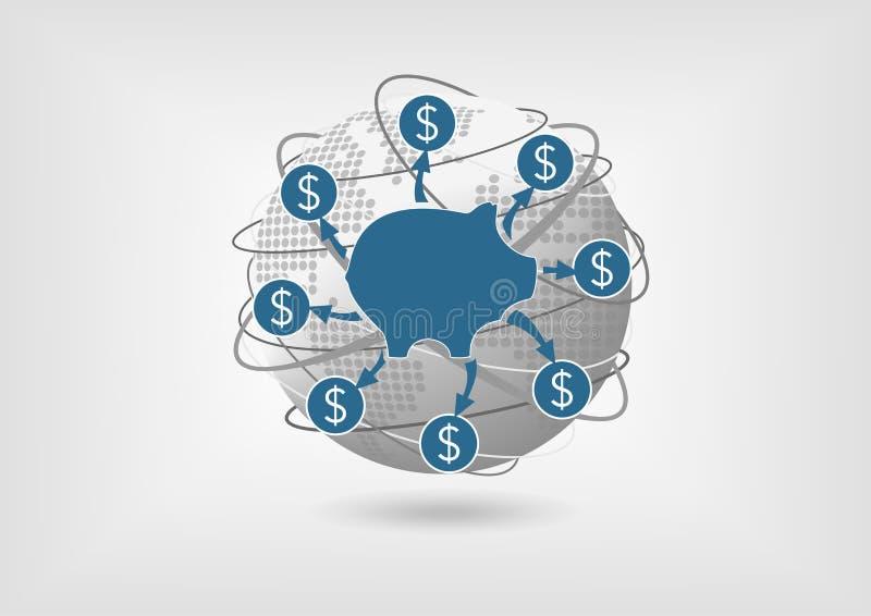 Nehmen Sie Einsparungensgeld während einer globalen Rezession zurück stock abbildung