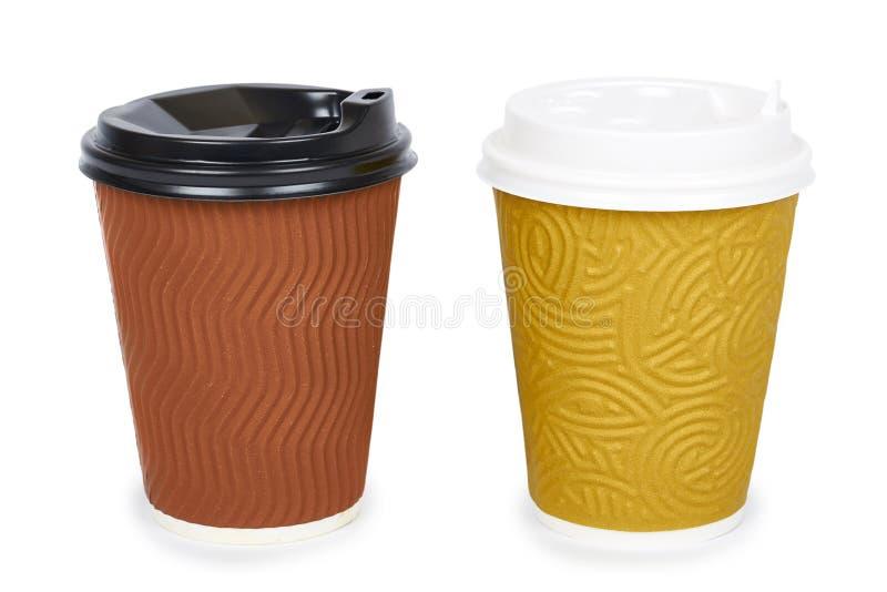 Nehmen Sie Kaffee in der Thermo Schale heraus Getrennt auf einem weißen Hintergrund Wegwerfbehälter, Heißgetränk lizenzfreie stockbilder
