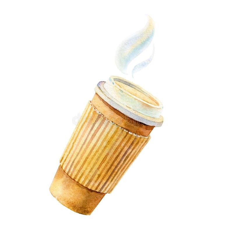 Nehmen Sie Kaffee mit Becherhalter weg, die gezeichnete Hand - Aquarell Illustration lizenzfreie abbildung