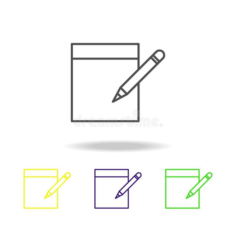 nehmen Sie Kenntnisse über mehrfarbige Ikonen des Blattes Element von Journalismus für bewegliche Konzept und Netz Appsillustrati stock abbildung