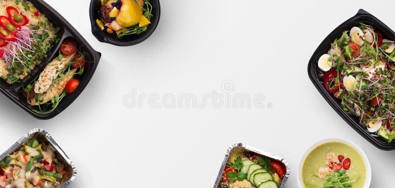 Nehmen Sie Nahrung, Vielzahl der Draufsicht der gesunden Mahlzeiten weg stockfotos