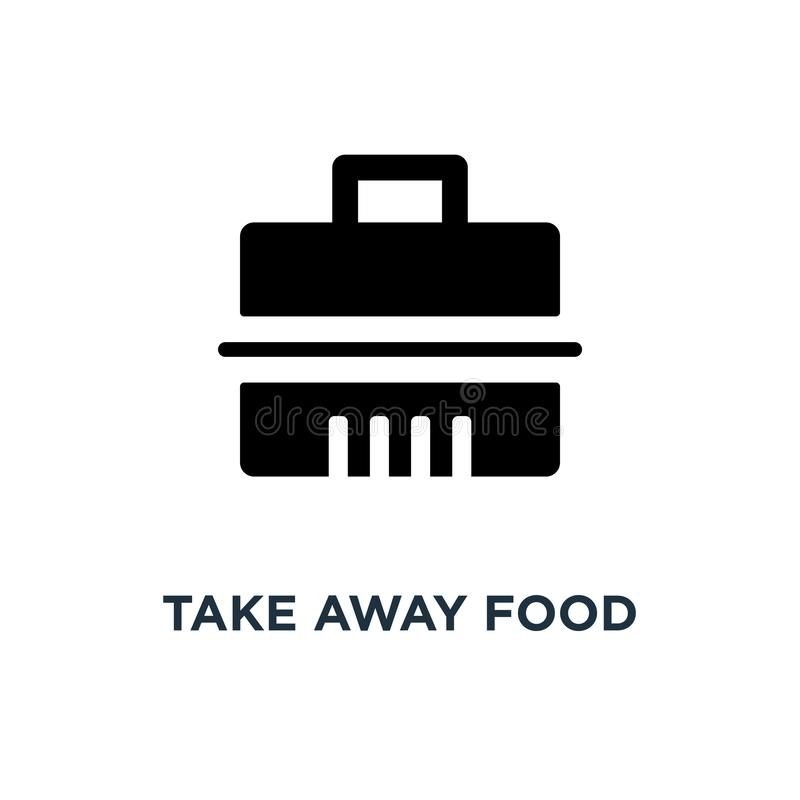 Nehmen Sie Nahrungsmittelbehälterikone weg Einfache Elementillustration schnell stock abbildung