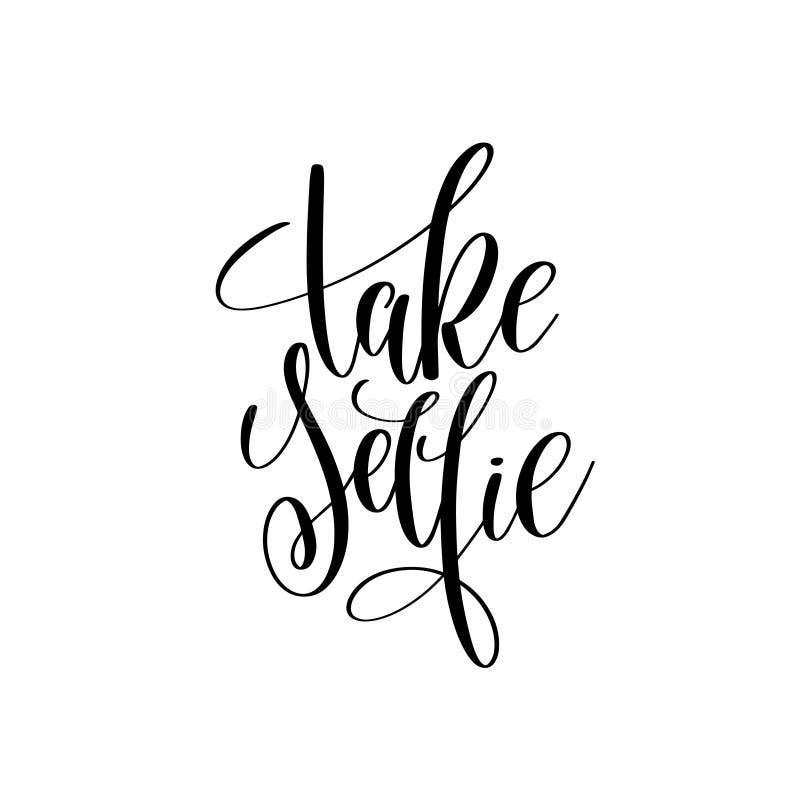 Nehmen Sie selfie die Schwarzweiss-Hand, die positives quot beschriftend geschrieben wird lizenzfreie abbildung