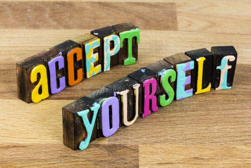 Nehmen Sie sich zuerst Liebe andere Inspiration helfen gute positive Person stockfoto