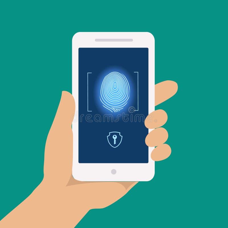 Nehmen Sie von intelligenten Telefonzugangsverschluß, flache Vektorillustration der Schirmfingerabdruckhandscan-Sicherheit Finger stock abbildung