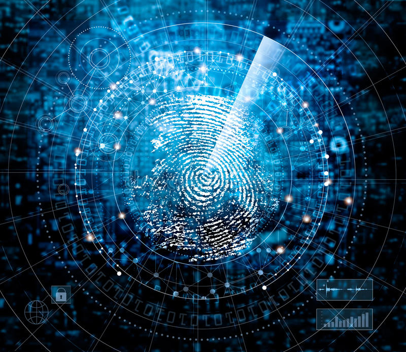 Nehmen Sie von Scannen und Suchen Identität auf blauer Cybertechnologie Fingerabdrücke lizenzfreies stockbild