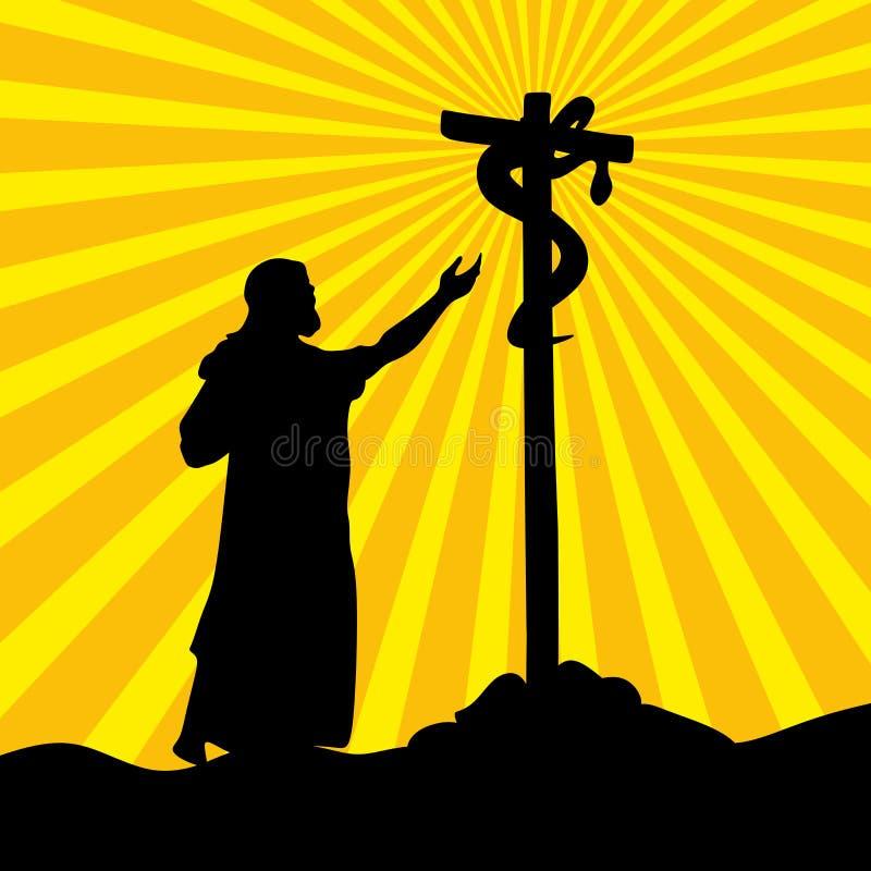 Nehushtan, krucyfiks, Mojżesz na wzgórzu royalty ilustracja