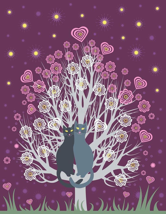 Nei gatti di amore su un albero di fioritura royalty illustrazione gratis