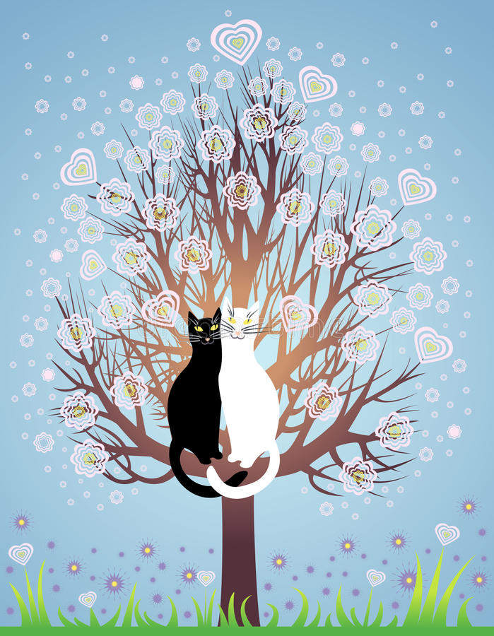 Nei gatti di amore su un albero di fioritura illustrazione vettoriale
